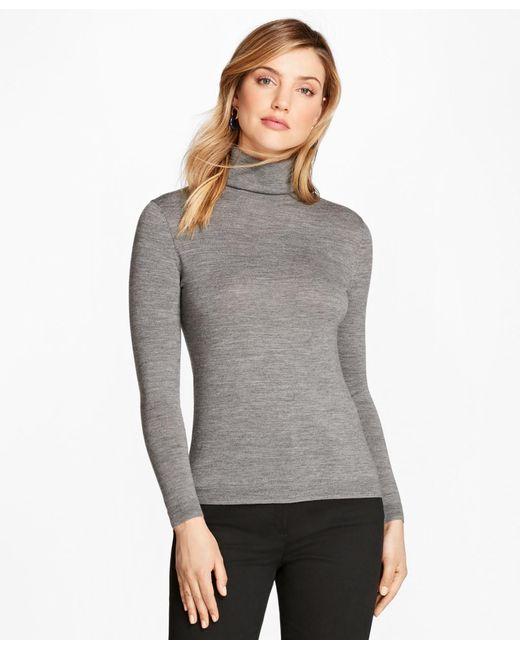Brooks Brothers   Gray Saxxon Wool Turtleneck Sweater   Lyst