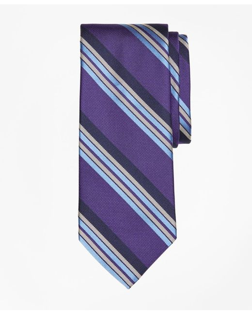 Brooks Brothers - Purple Multi-textured Sidewheeler Stripe Tie for Men - Lyst