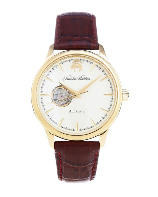 Brooks Brothers - Metallic Round Watch With Embossed Leather Band for Men - Lyst