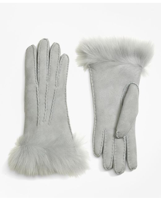 Brooks Brothers - Gray Shearling Gloves - Lyst