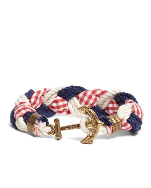 Brooks Brothers - Red Kiel James Patrick Gingham Braided Bracelet for Men - Lyst