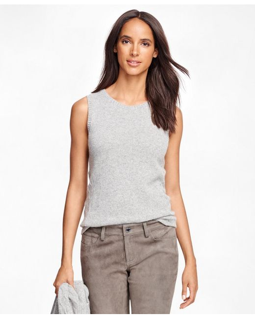 Brooks Brothers - Gray Cashmere Sleeveless Shell - Lyst