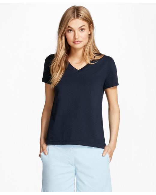 Brooks Brothers - Blue Garment-dyed V-neck T-shirt - Lyst