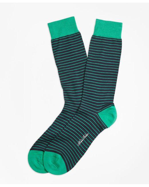 Brooks Brothers   Green Bright Stripe Crew Socks for Men   Lyst