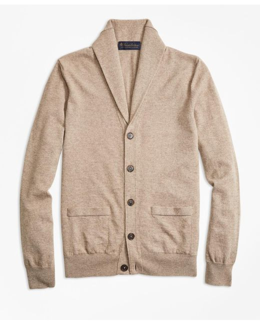 Brooks Brothers | Natural Two-ply Cashmere Shawl Collar Cardigan for Men | Lyst