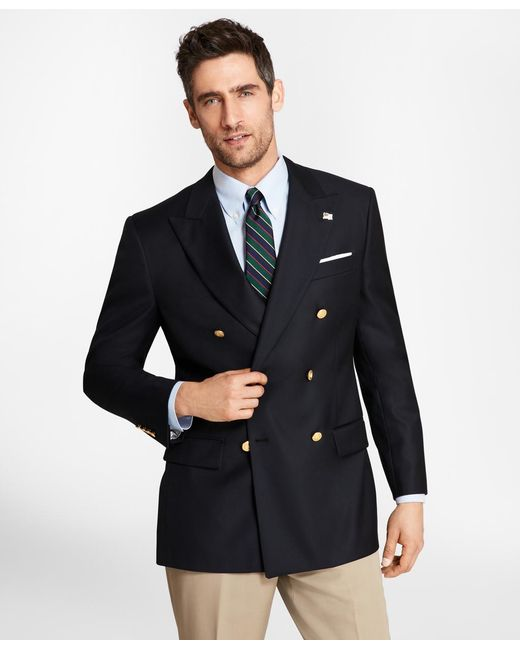 Brooks Brothers - Blue Country Club Saxxon Wool Double-breasted Blazer for Men - Lyst