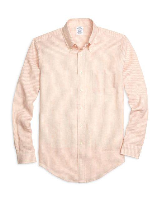 Brooks Brothers - Orange Regent Fit Stripe Linen Sport Shirt for Men - Lyst