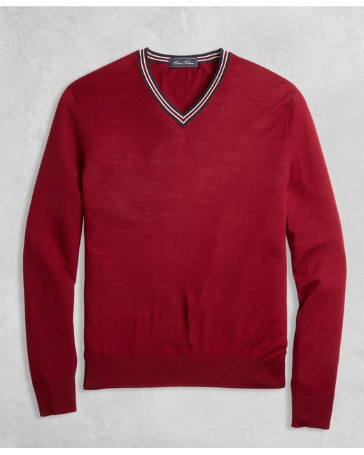Brooks Brothers - Red Golden Fleece® 3-d Knit Merino Fine-gauge V-neck Sweater for Men - Lyst