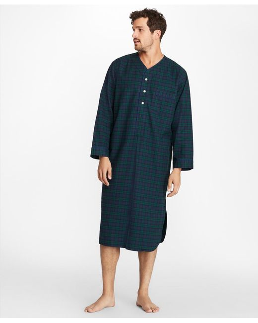 Brooks Brothers - Blue Black Watch Flannel Nightshirt for Men - Lyst
