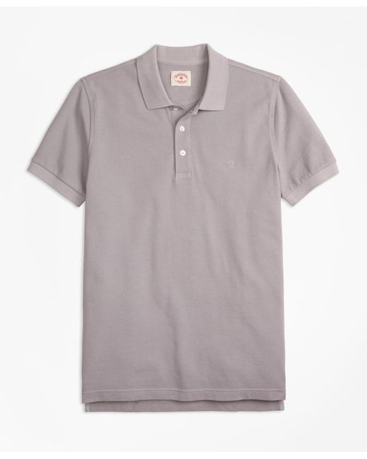 Brooks Brothers - Gray Garment-dyed Cotton Pique Polo Shirt for Men - Lyst