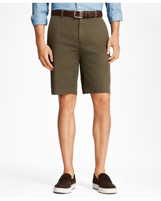 """Brooks Brothers - Green Garment-dyed 10"""" Bermuda Shorts for Men - Lyst"""