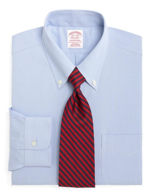 Brooks Brothers | Blue Non-iron Traditional Fit Houndstooth Dress Shirt for Men | Lyst