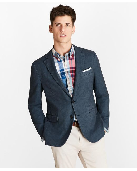 Brooks Brothers - Blue Herringbone Two-button Sport Coat for Men - Lyst