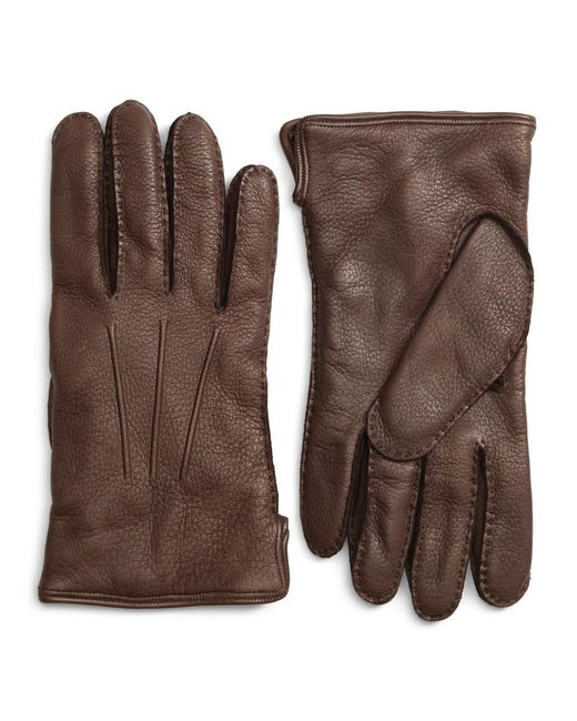 Brooks Brothers - Brown Deerskin Cashmere Lined Gloves for Men - Lyst