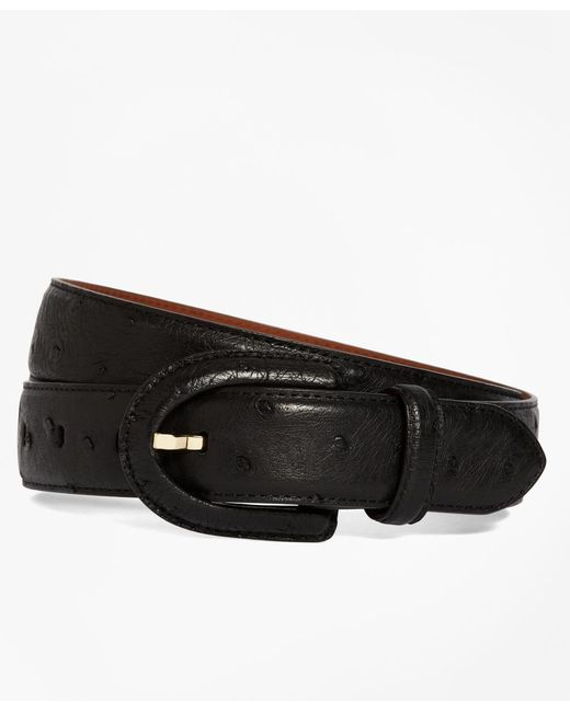 Brooks Brothers - Black Ostrich Covered Buckle Belt - Lyst