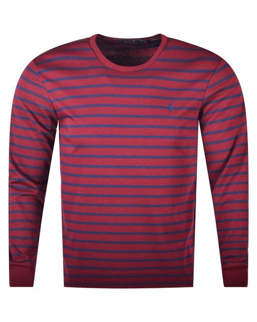 Polo Ralph Lauren - Red Burgundy Stripe Long Sleeve T-shirt for Men - Lyst
