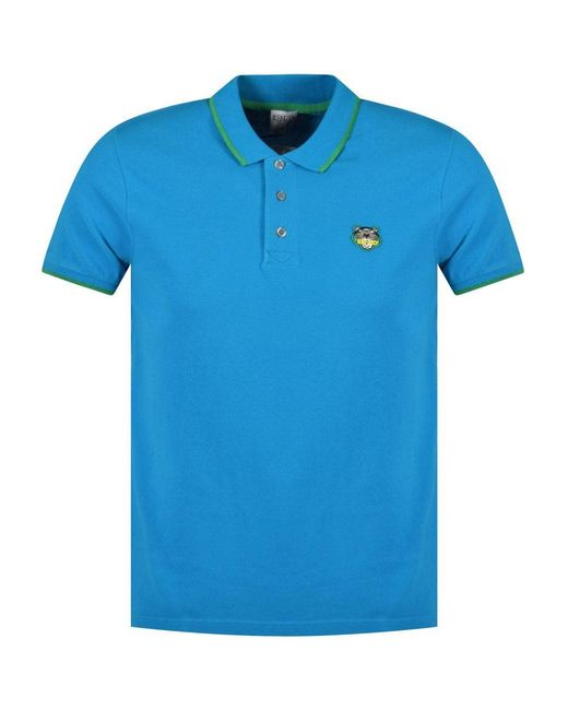 5367b04ae1e8 KENZO - Blue Turquoise Tiger Polo Shirt for Men - Lyst ...