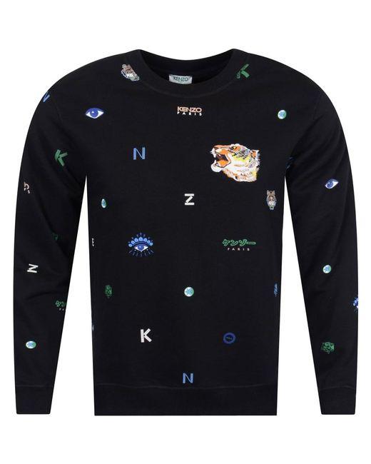 KENZO - Black Multi Print Logo Sweatshirt for Men - Lyst