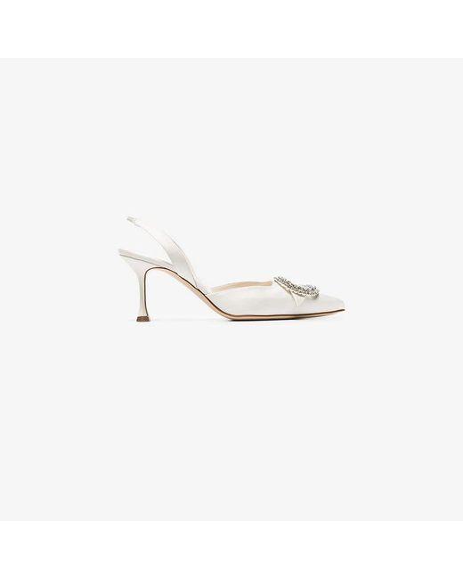 f51aa5de3bf Women's White Fiboslac 70 Satin Slingback Court Shoes
