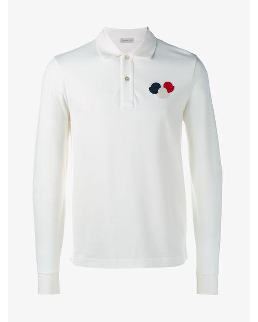 Moncler Long Sleeve Polo Shirt In Black For Men White Lyst