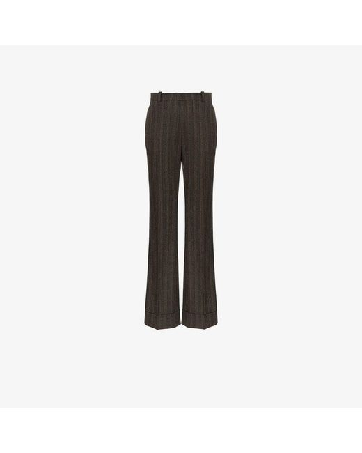 Etro - Brown High Waisted Striped Wool Trousers - Lyst