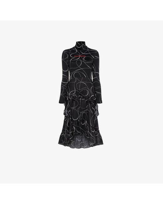 Balenciaga - Black Abstract Pattern Logo Silk Dress - Lyst