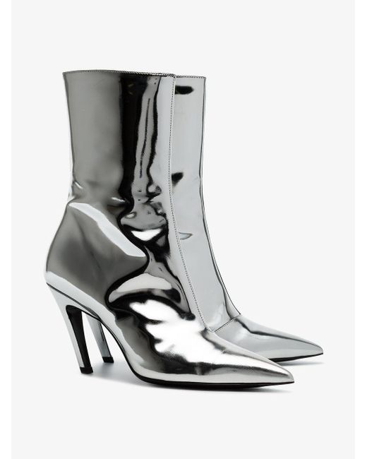 Lyst in Talon Balenciaga Boots Save Ankle Mirror Metallic awaPrgq