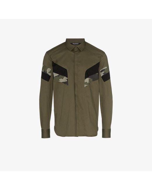 Neil Barrett - Green Camouflage Panelled Cotton Blend Shirt for Men - Lyst