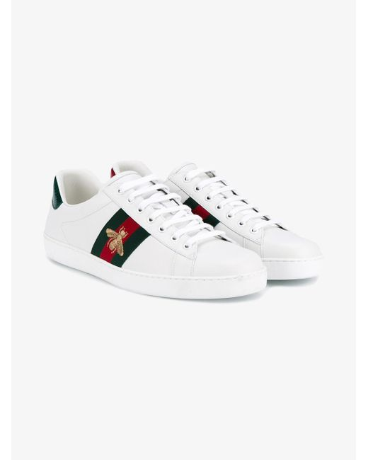 Gucci Bee Embroidered Sneakers In White For Men Lyst