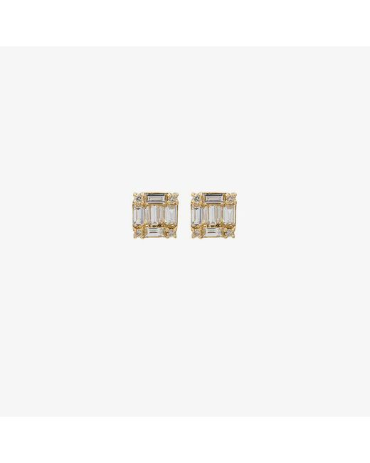 SHAY - Metallic Square Stacked Baguette Stud Earrings - Lyst