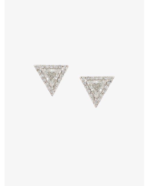 Lizzie Mandler - Metallic 'trillion' Diamond Pave Stud Earrings - Lyst