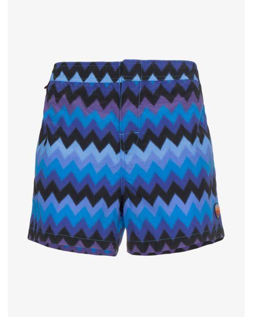 Missoni - Blue Large Zig Zag Swimshorts for Men - Lyst