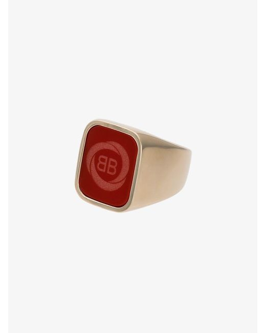Balenciaga Red Square Logo Ring for men