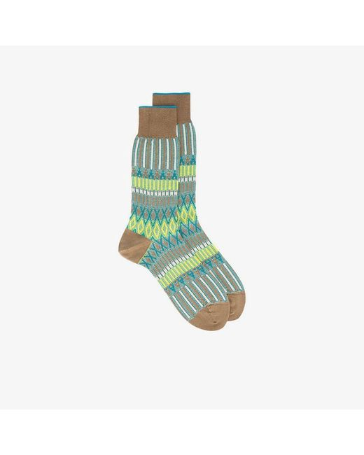 Ayamé - Green And Yellow Basket Lunch Knitted Pattern Socks for Men - Lyst