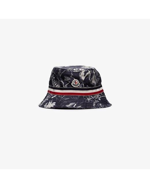 d689725a5b18 Moncler Sketch Print Stripe Detail Bucket Hat in Blue for Men - Lyst