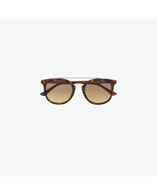 6435548998c Gucci - Eyewear Brown GG0403S-003 51 Aviator Sunglasses for Men - Lyst ...