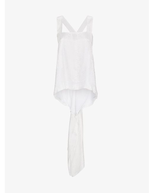 Givenchy - White Square Neck Jacquard Silk Top - Lyst