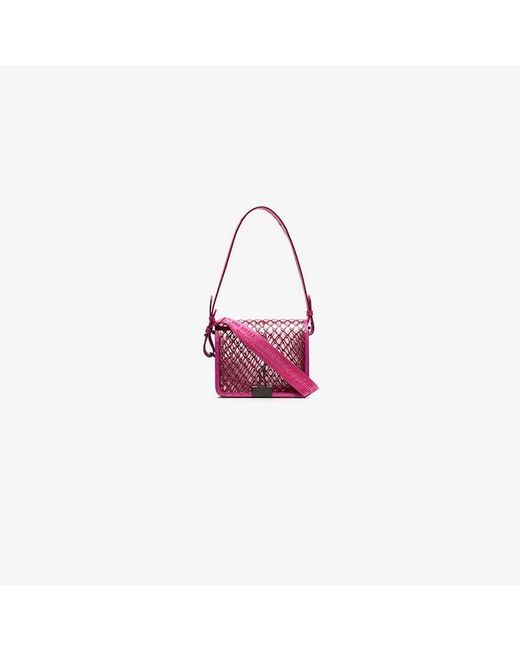 c72da43058 Lyst - Off-White C O Virgil Abloh Pink Flap Top Net Pvc Shoulder Bag ...
