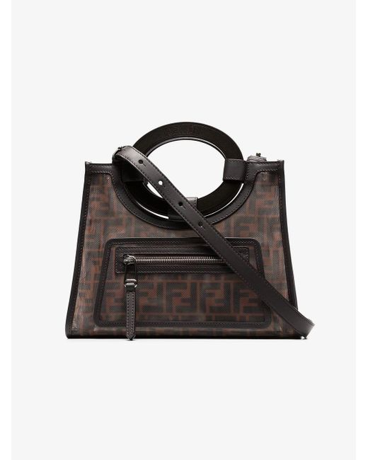 60de4edf3015 Lyst - Fendi Small Runaway Shopping Tote in Brown - Save 8%