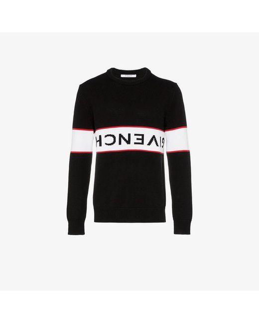76c104eb418c ... Givenchy - Black Upside Down Logo Band Cotton Jumper for Men - Lyst ...
