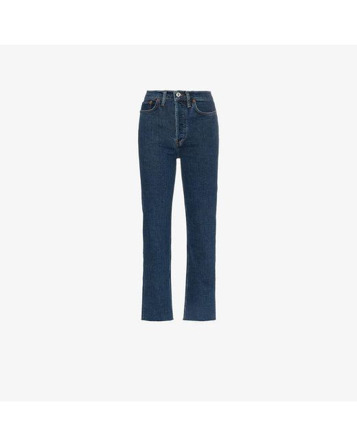 Re/done - Blue Stove Pipe Straight Leg High-rise Jeans - Lyst