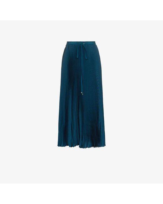 ea917f2a02 Tibi - Blue Drawstring Pleated Midi Skirt - Lyst ...