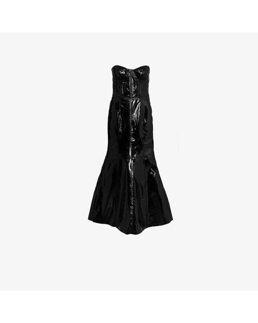 Natasha Zinko - Black Strapless Fitted Leather Gown - Lyst