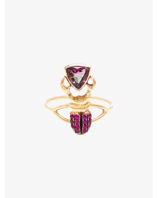 Daniela Villegas - Pink Kephri 18k Gold, Sapphire And Tourmaline Ring - Lyst