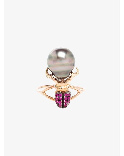 Daniela Villegas - Gray Ruby And Pearl Beetle Ring - Lyst