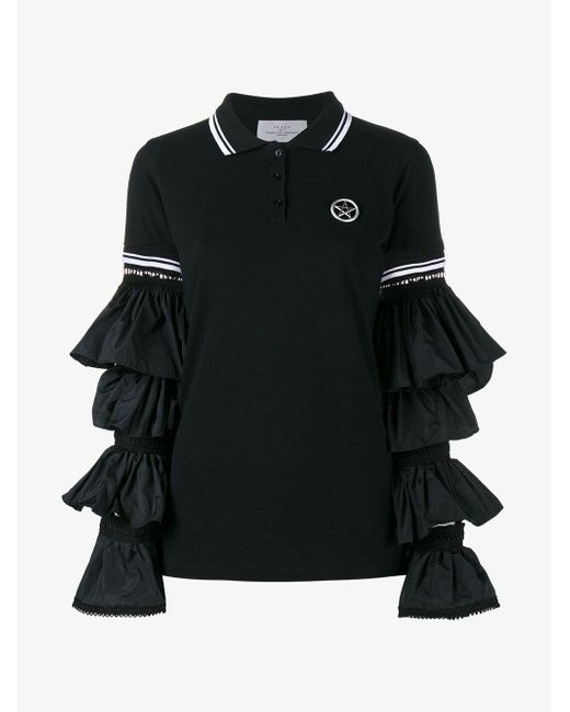 Preen By Thornton Bregazzi - Black Ruffle Sleeve Polo Shirt - Lyst