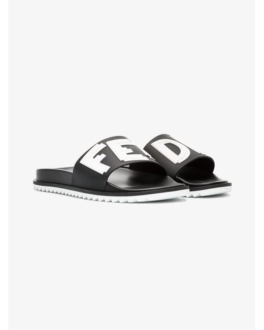 f4708771f2db Fendi - Black Logo Print Pool Slides for Men - Lyst ...