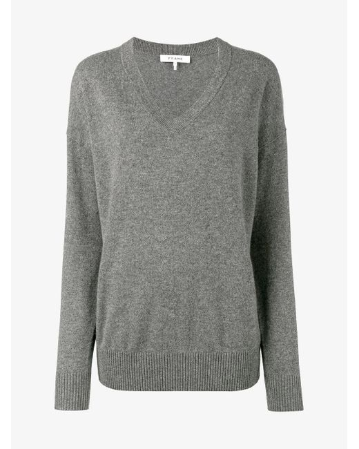FRAME - Gray Grey V-neck Knitted Sweater - Lyst