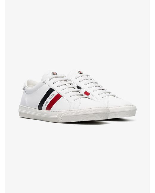 Moncler - White New Monaco Striped Leather Sneakers for Men - Lyst