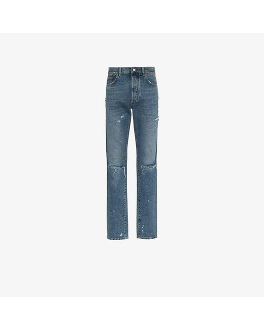 Givenchy - Blue Slim-fit Destroyed Denim Jeans for Men - Lyst